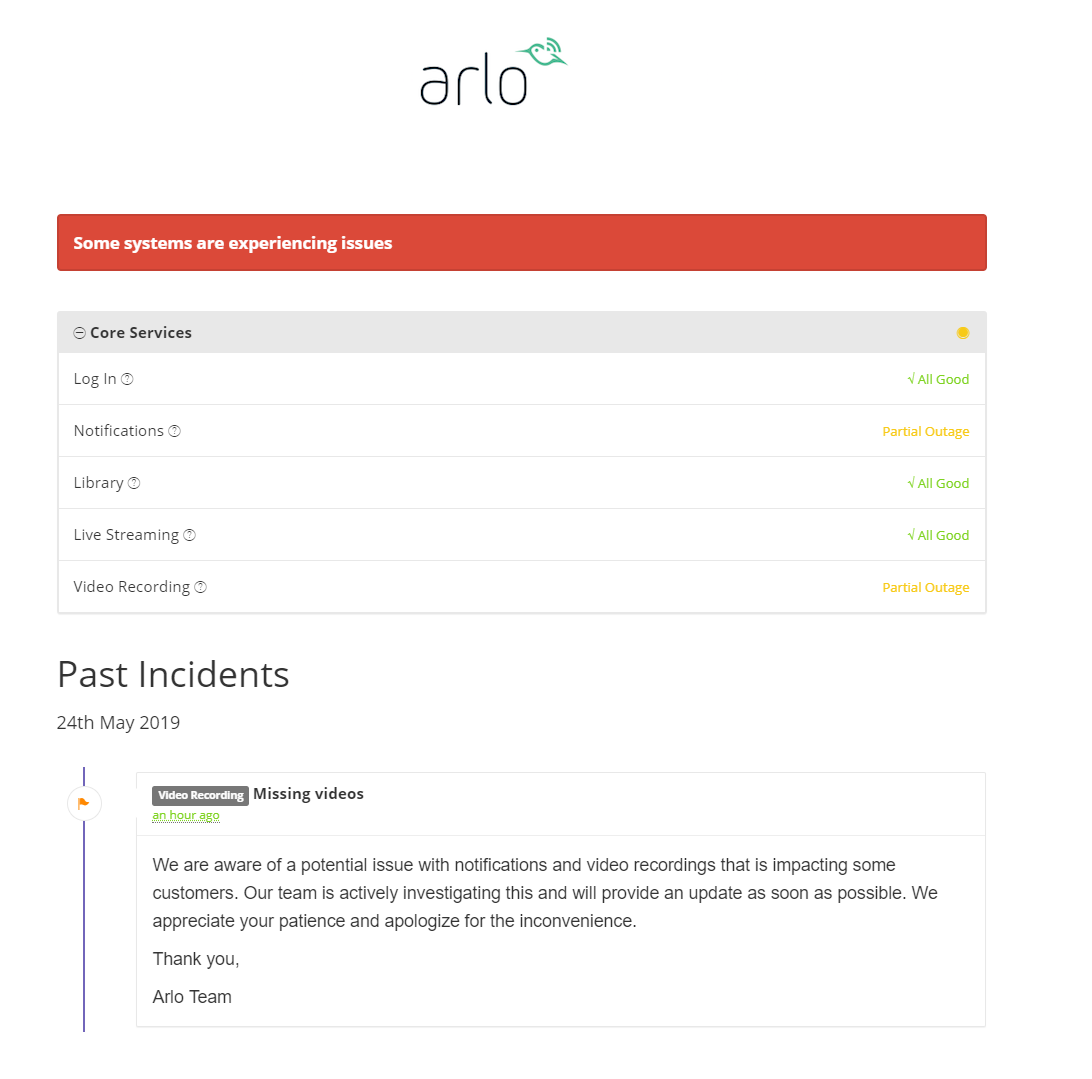 Solved: Videos Missing from Library Since this Morning - Arlo