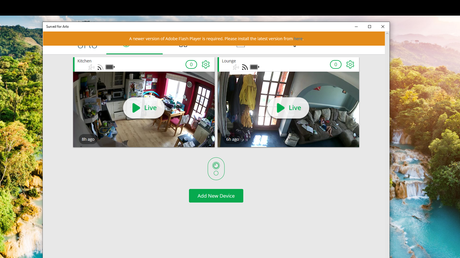 Surveil for Arlo app issue with flash player on wi    - Arlo