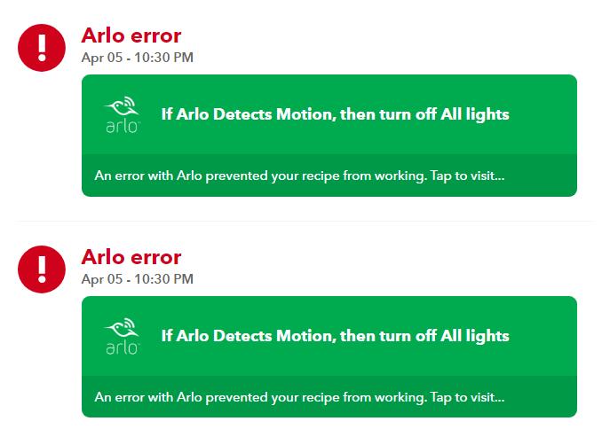 Arlo Error