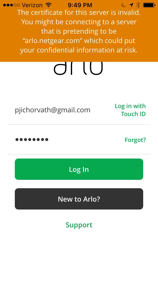 Certificate Error With Arlo App Arlo Communities