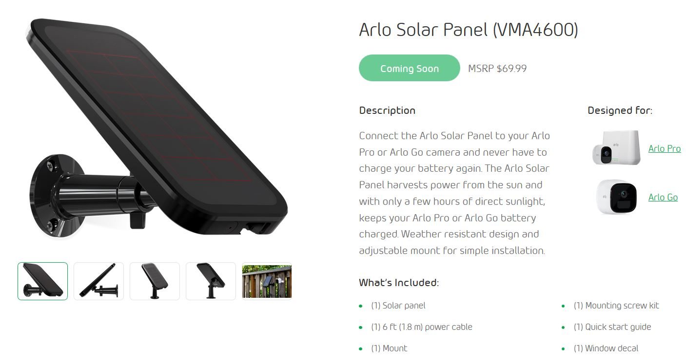 Re 3rd Party Portable Solar Panel Vma4600 Arlo Communities