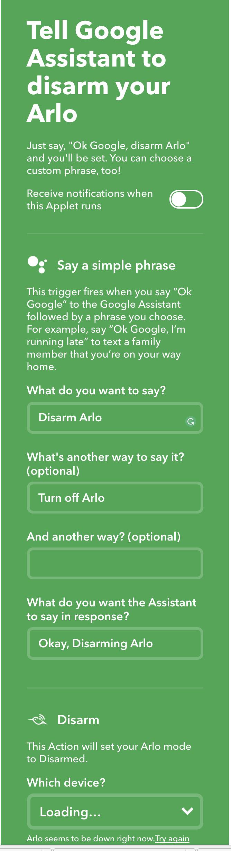 Solved: IFTTT Arlo not working - Arlo Communities