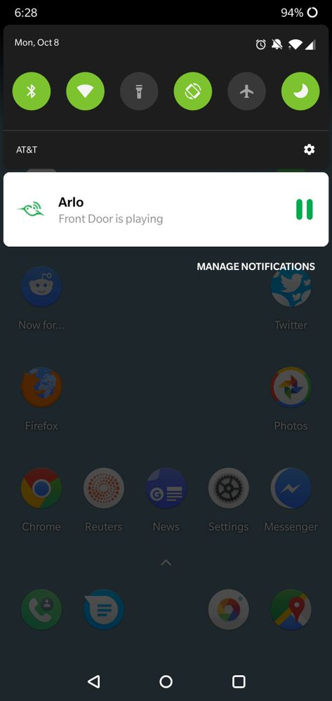Cannot clear Arlo notification on Android and geof    - Arlo