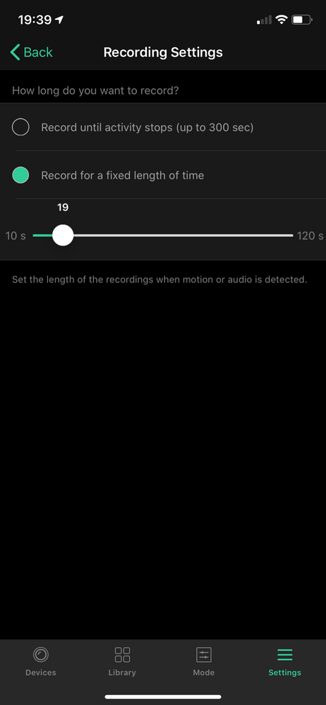 #3 recording settings for motion settings of audio doorbell
